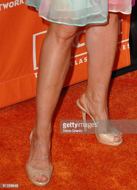 A closeup of Holly Hunter's shoes as she arrives at the Turner Broadcasting TCA Party at The Oasis Courtyard at The Beverly Hilton Hotel on July 11...