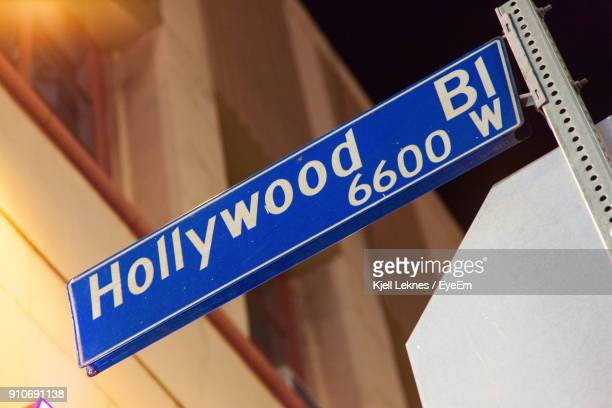 close-up of hollywood sign at night - hollywood sign stock pictures, royalty-free photos & images