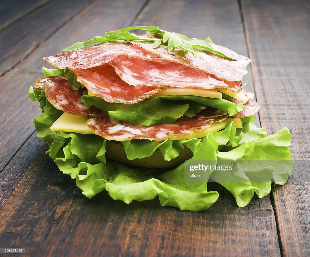 Closeup of homemade hamburger : Stock Photo