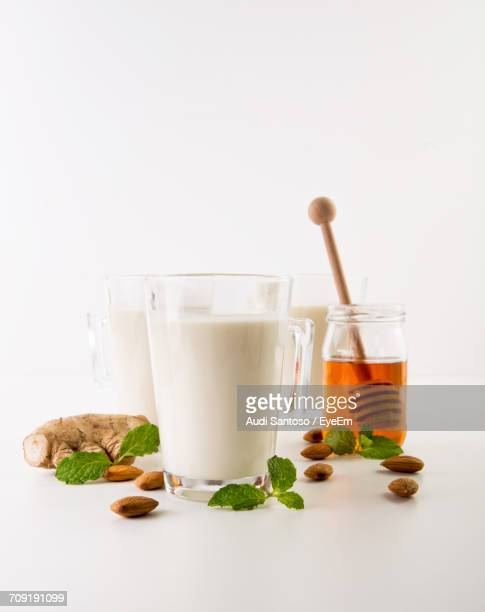 Close-Up Of Honey And Milk