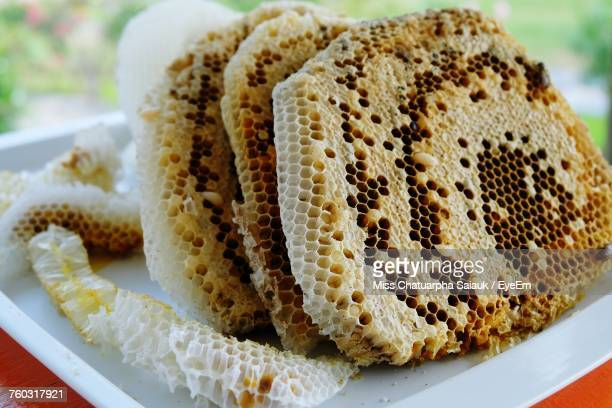 Close-Up Of Honeycomb In Plate