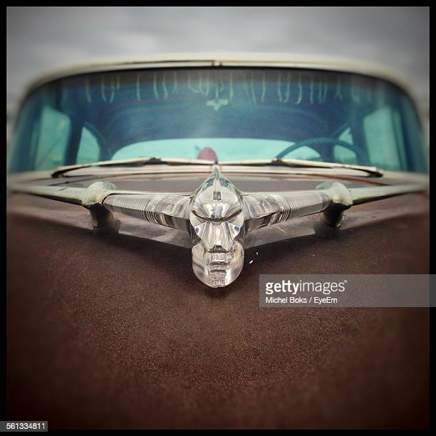 close-up of hood ornament on vintage car - hood ornament stock pictures, royalty-free photos & images