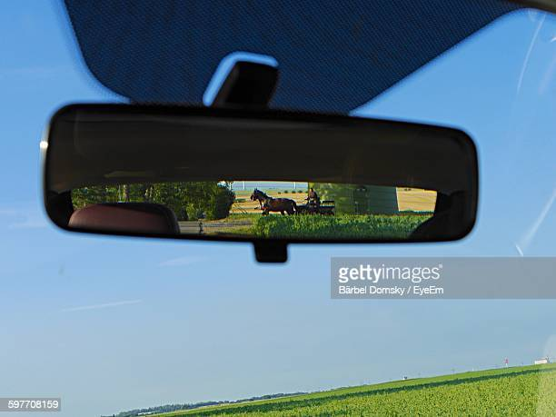 Close-Up Of Horse Cart Reflecting On Rear-View Mirror
