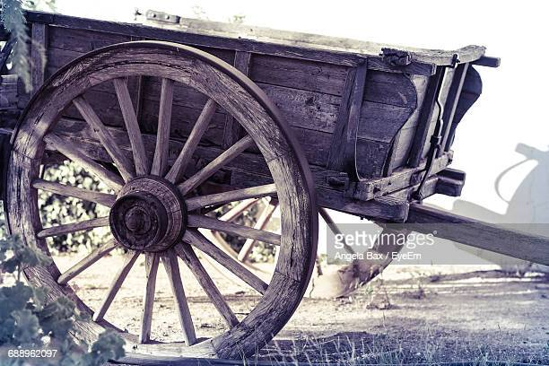 Close-Up Of Horsedrawn Wagon Wheel