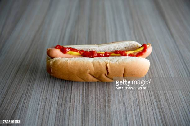 Close-Up Of Hot Dog On Table
