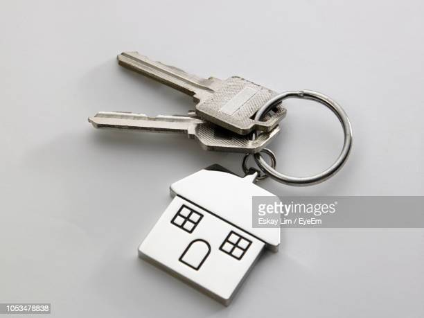 close-up of house keys on white background - datortangent bildbanksfoton och bilder