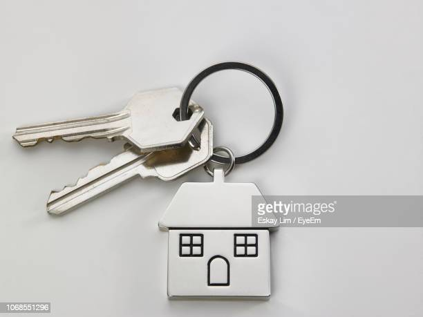 close-up of house keys over white background - datortangent bildbanksfoton och bilder