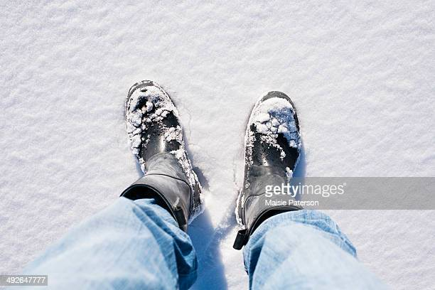 close-up of human legs in snow, colorado, usa - camera point of view stock photos and pictures