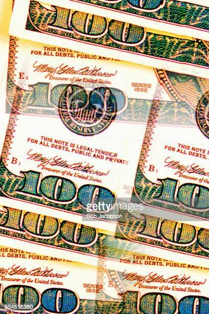 Close-Up of Hundred Dollar Bills