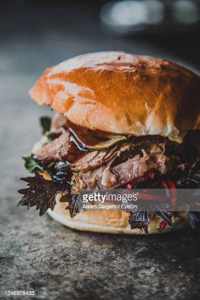 close-up of ice burger - truro cornwall stock pictures, royalty-free photos & images