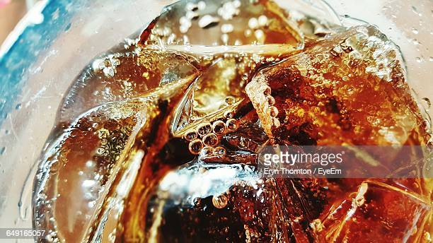 Close-Up Of Ice Cubes In Drink
