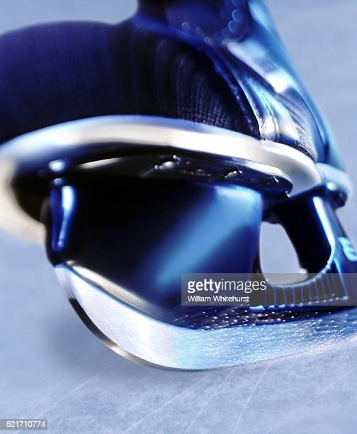 close-up of ice skate - スケート ストックフォトと画像