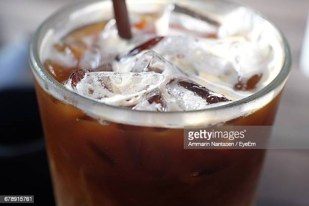 Close-Up Of Iced Coffee In Glass