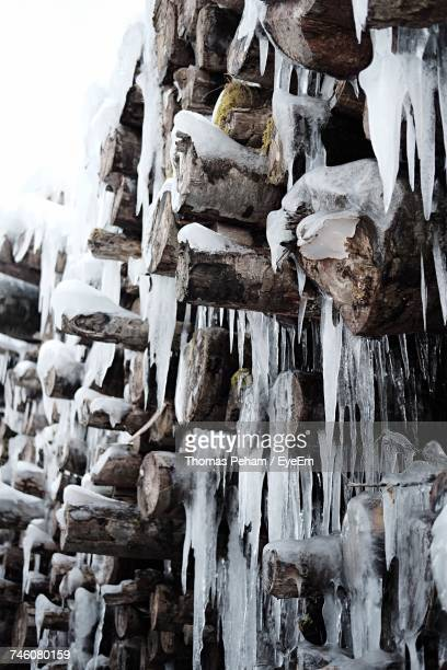 Close-Up Of Icicle On Wooden Logs During Winter Outdoors