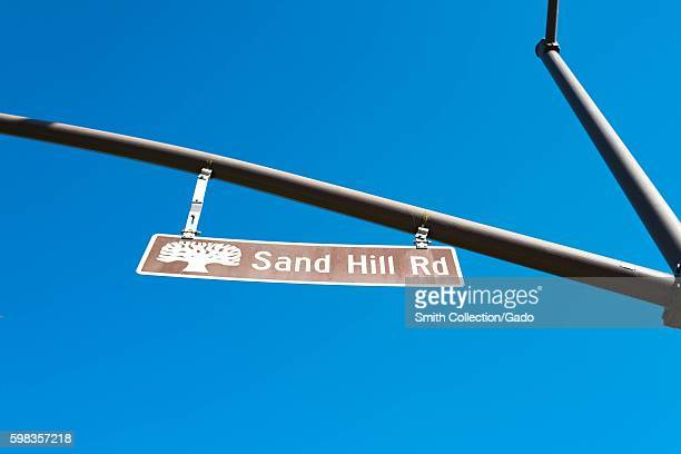Closeup of iconic sign for Sand Hill Road on Sand Hill Road in the Silicon Valley town of Menlo Park California August 25 2016 In Silicon Valley...