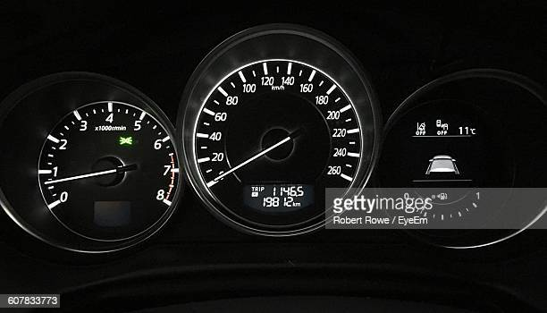 Close-Up Of Illuminated Car Speedometer