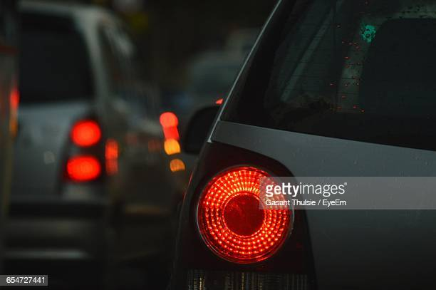 Close-Up Of Illuminated Car Tail Light At Night