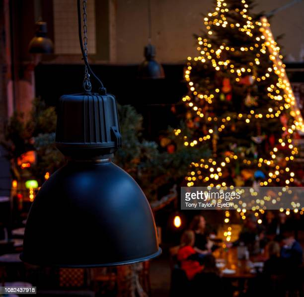 close-up of illuminated christmas tree at night - dordrecht stock pictures, royalty-free photos & images