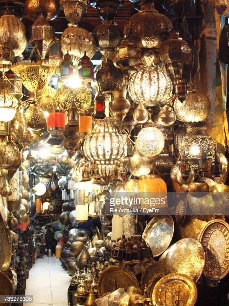 Close-Up Of Illuminated Lanterns For Sale In Store