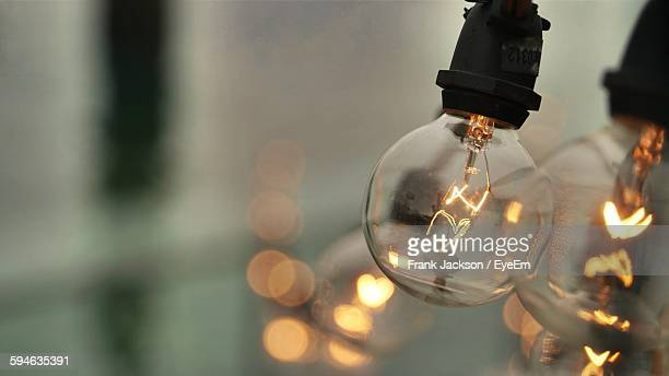 Close-Up Of Illuminated Light Bulbs