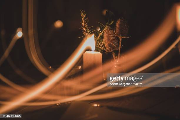 close-up of illuminated light trails at night - truro cornwall stock pictures, royalty-free photos & images