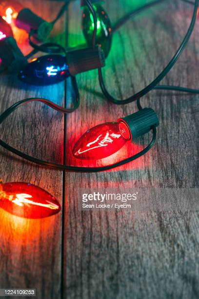 close-up of illuminated lighting equipment on table - cinco de mayo background stock pictures, royalty-free photos & images