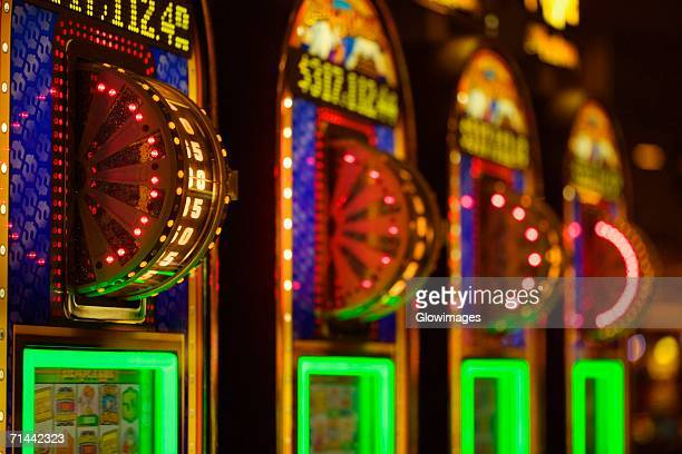 Close-up of illuminated number wheels in a casino, Las Vegas, Nevada, USA