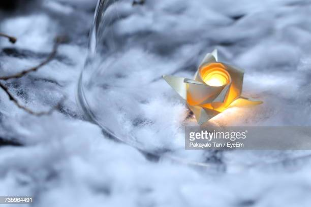 Close-Up Of Illuminated Paper Flower Amidst Cotton During Christmas