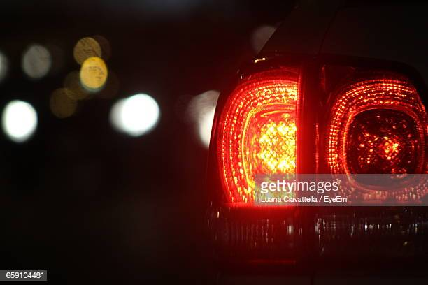 Close-Up Of Illuminated Red Car Tail Light