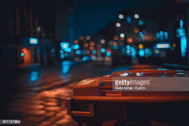 close-up of illuminated road at night - focus on foreground stock pictures, royalty-free photos & images