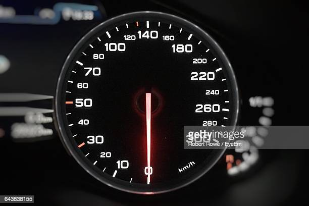Close-Up Of Illuminated Speedometer Of Car
