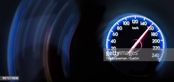 Close-Up Of Illuminated Speedometer