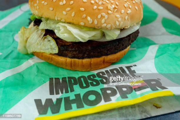 Close-up of Impossible Whopper, a meat-free item using engineered, plant-protein based burger patty from food technology company Impossible, during a...