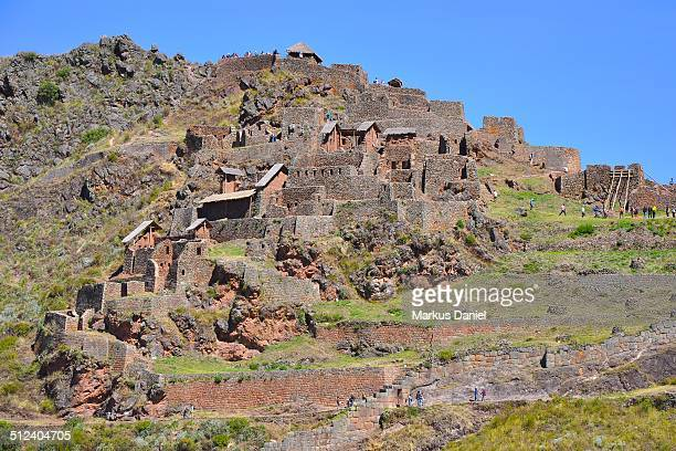 Closeup of Inca Ruins in Pisac, Peru