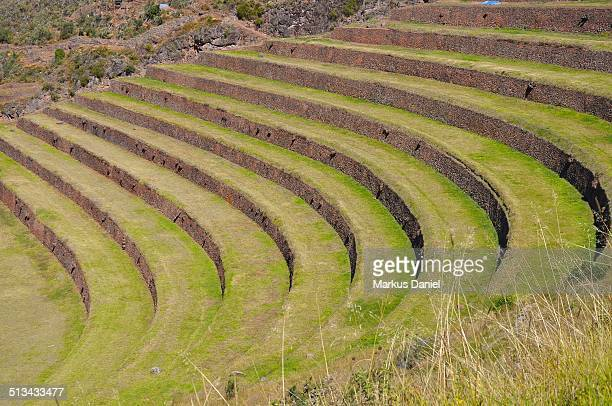 Closeup of Inca Terraces in Pisac, Peru