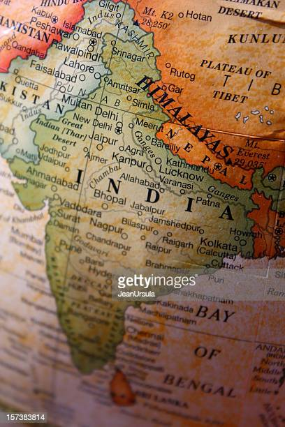close-up of india and its territory on a world map - himalaya stockfoto's en -beelden