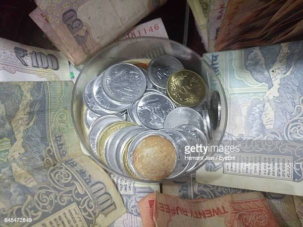 Close-Up Of Indian Currencies