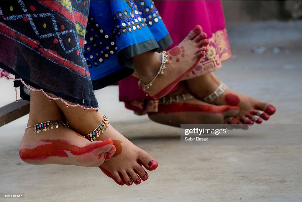 Closeup Of Indian Womans Feet With Anklet Stock Photo | Getty Images