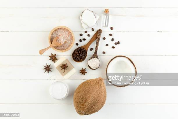 close-up of ingredients on white table - coconut stock pictures, royalty-free photos & images