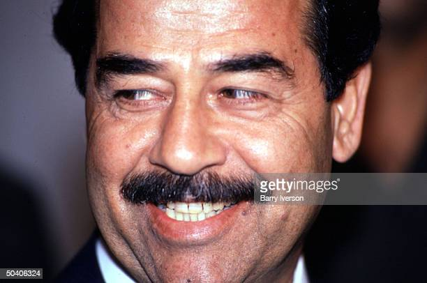 Closeup of Iraq leader Saddam Hussein during oneday visit to Cairo for talks with Egyptian President Hosni Mubarak