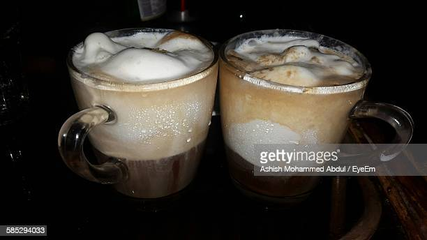 Close-Up Of Irish Coffees Served On Table