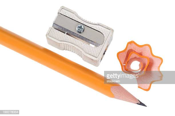 Closeup of isolated pencil and sharpener