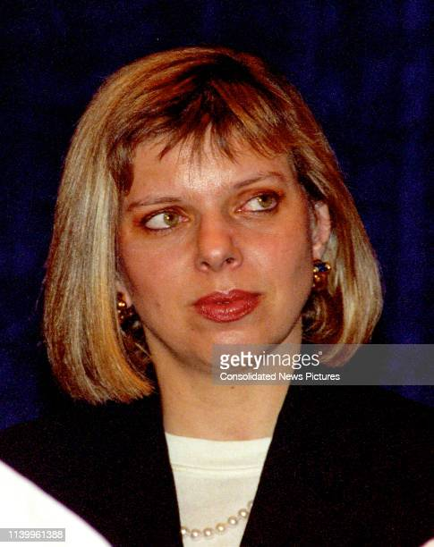 Close-up of Israeli psychologist Sara Netanyahu at the National Press Club, Washington DC, July 10, 1996. She was there to listen to a speech by her...