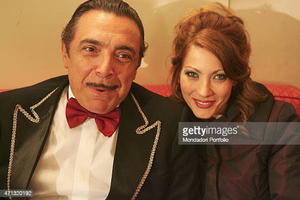 Closeup of Italian actors Nino Frassica and Milena Miconi posing while shooting on the set of the fiction 'Don Matteo 5' inside the municipal theatre...