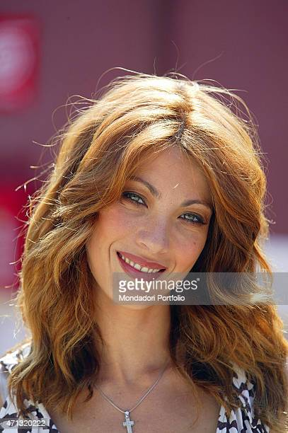 Closeup of Italian actress and showgirl Milena Miconi playing the maior of the city in Umbria in a photo shooting on the set of the fiction 'Don...