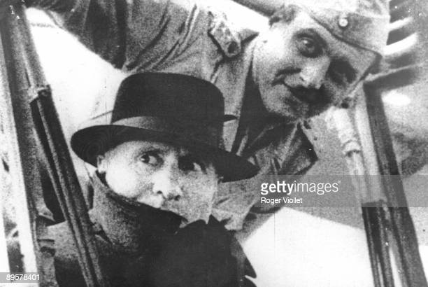 Closeup of Italian politician and fascist dictator Benito Mussolini shortly after his rescue by German military commander Otto Skorzeny and a group...