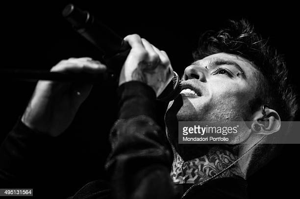 Closeup of Italian rap singersongwriter Fedez in concert at Mediolanum Forum in Assago Milan 21st March 2015