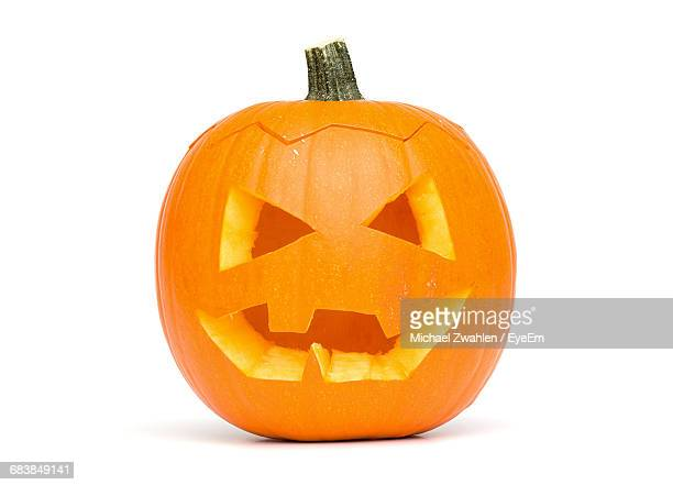 Close-Up Of Jack O Lantern On White Background