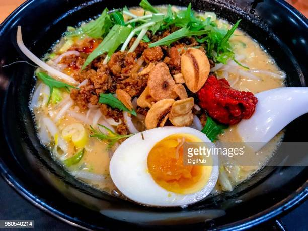 Close-up of Japanese style chuka tantanmen soup noodles