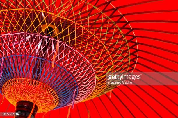 close-up of japanese umbrella - 工芸品 ストックフォトと画像
